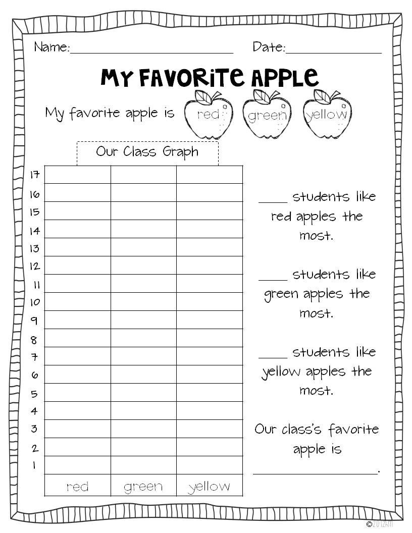 Worksheet Kindergarten Graphing apple graphs and glyph miss kindergarten then we do two experiments first will the sink or float