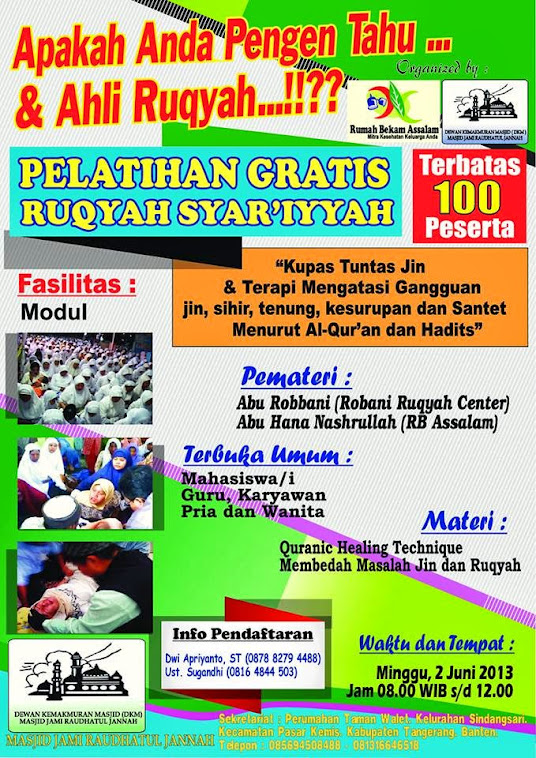PELATIHAN RUQYAH GRATIS DI TANGGERANG