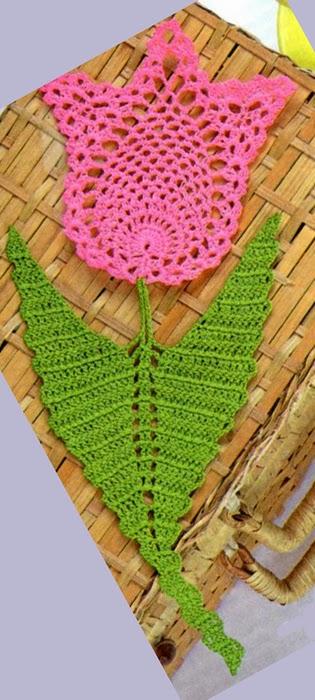 Flor aplique tulipán tejida al crochet