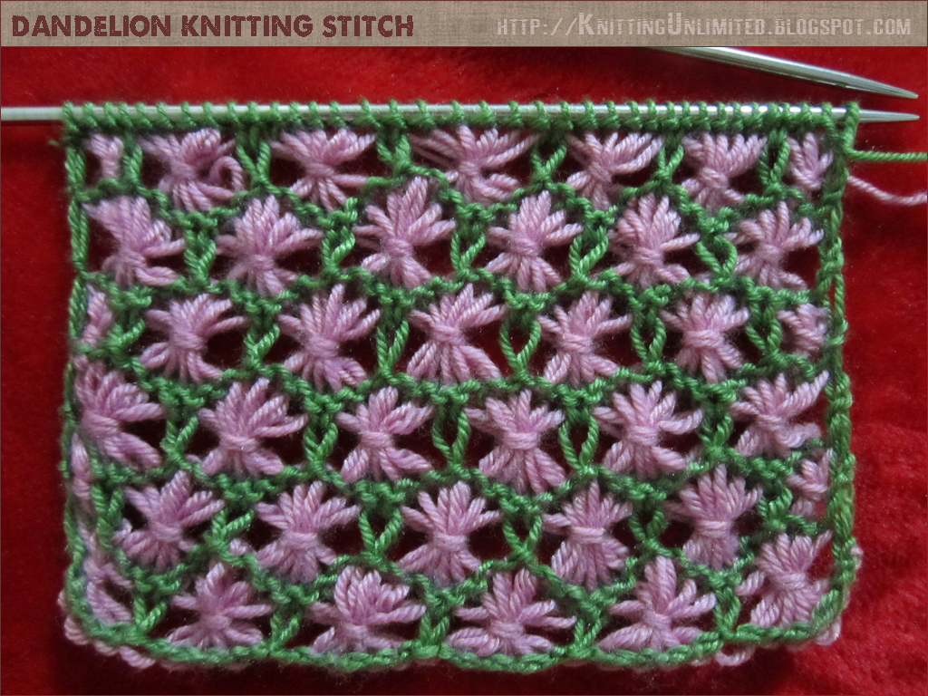 Dandelion Flower Knitting Stitch - Knitting Unlimited