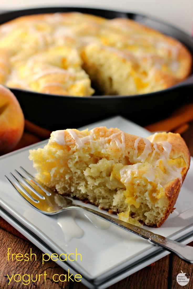 Fresh Peach Yogurt Cake | by Renee's Kitchen Adventures - Dairy-free moist and tender fresh peach yogurt cake made possible with Silk® Almond Milk and Silk® dairy free Yogurt Alternative  #Swapmilk4Silk #ad #cbias