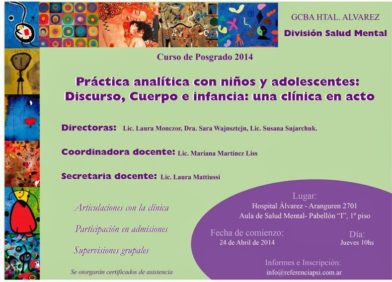 CURSO DE POSTGRADO EN CLÍNICA CON NIÑOS Y ADOLESCENTES ABRIL-NOV 2014