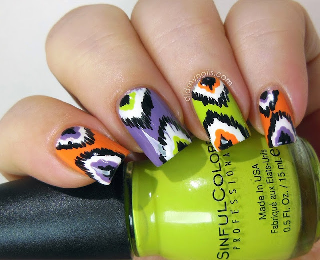 ikat nails for Halloween