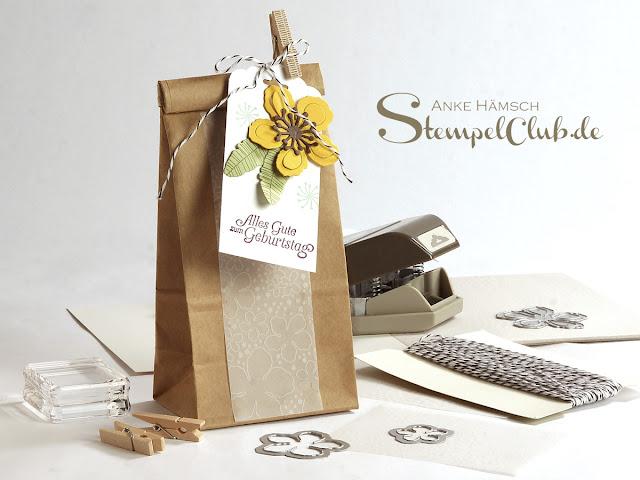 Geschenkverpackung für Tee, Kaffee, Gebäck, Stampin up