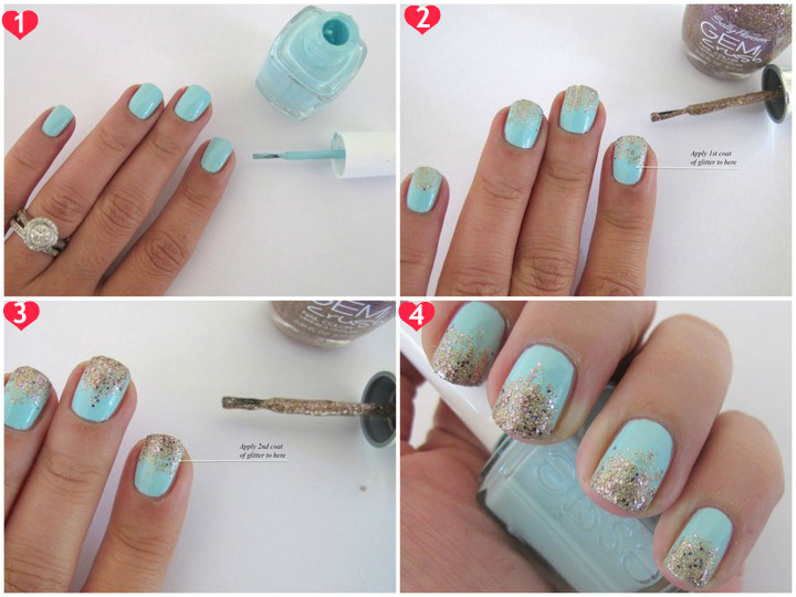 Mint and gold gradient glitter nail art tutorial |Makeup and Macaroons