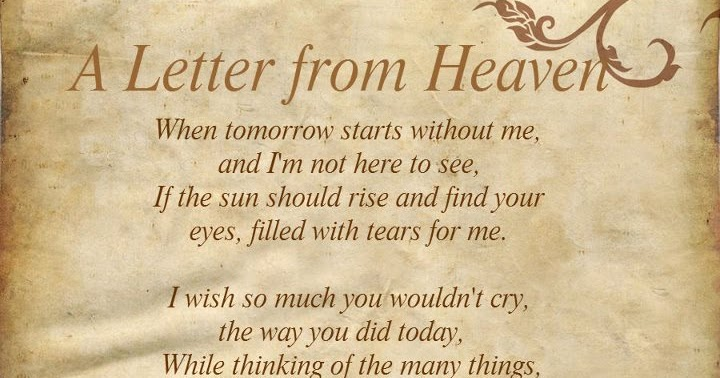 A Letter From Heaven Words