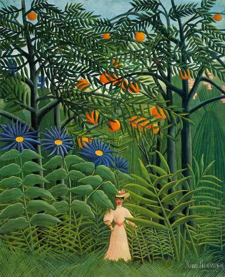 Henri Rousseau - Femme se promenant dans une forêt exotique,1906.