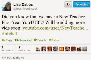 #ntchat, new teacher twitter chat, new teacher youtube channel