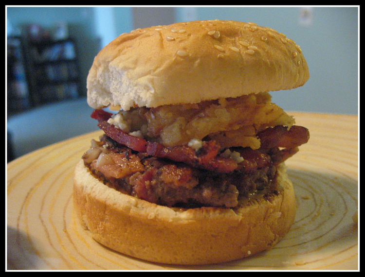 ... in the Kitchen: Bacon & Blue Cheese Burgers with Crispy Onion Straws