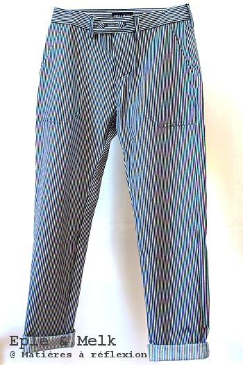 Pantalon rayé blanc bleu marine jeans boyfriend coton Eple & Melk