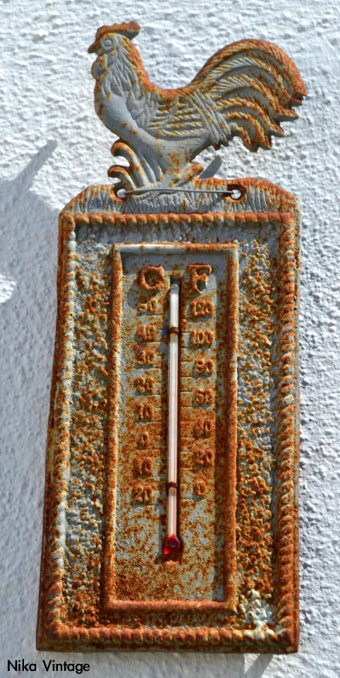 termometro antiguo gallo hierro