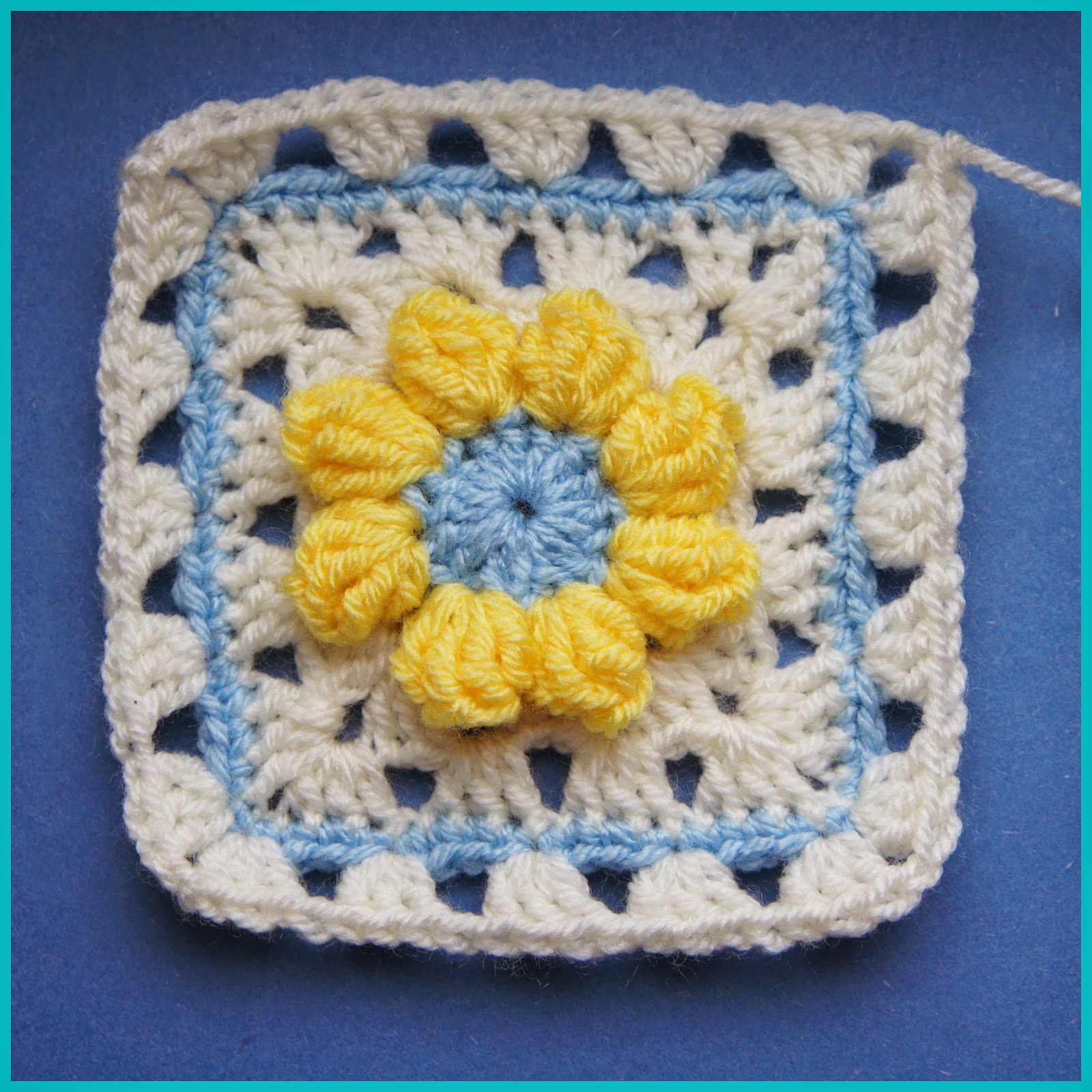 Crochet Popcorn Flower Free Pattern : A Bunch Of Buttons: Popcorn Flower Square