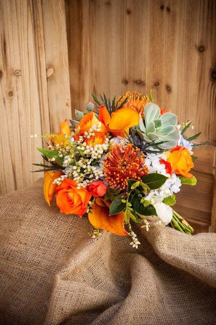 Isha Foss Events rustic bouquet succulents hydrangea, protea, thistle