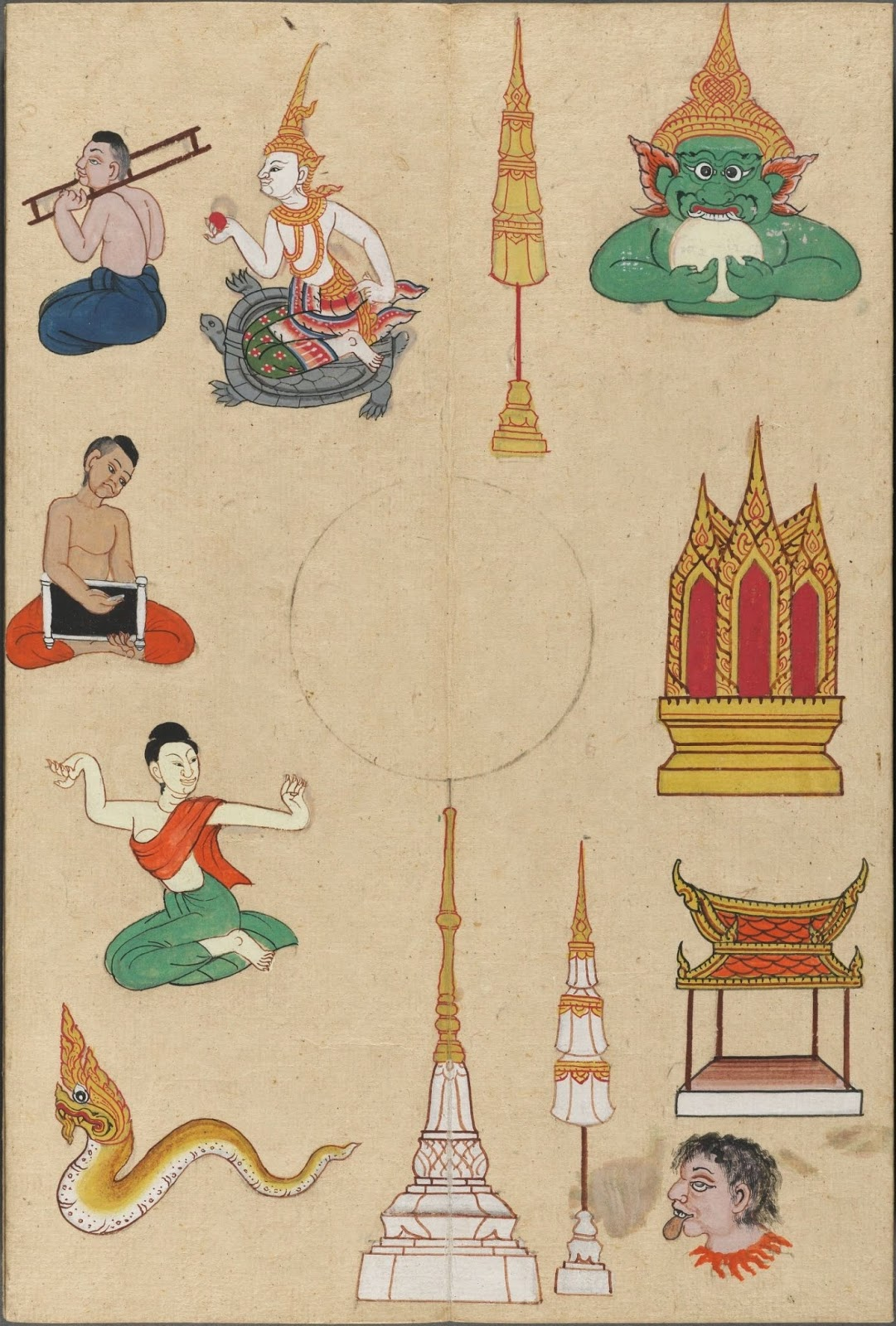 variety of individual sketches of temples & stupa & people & mythological figures
