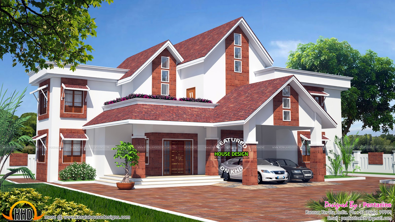 European Model Sloped Roof House Kerala Home Design And