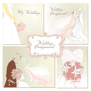 結婚式の招待状を飾るデザイン要素 decorative wedding design elements with vintage wedding invitation cards イラスト素材1