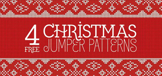 ニットで編んだトナカイやツリーが可愛い無料のクリスマスパターン素材セット