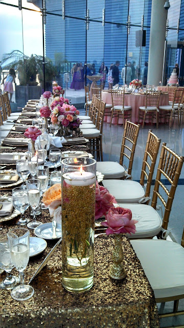 Isha Foss Events submerged baby's breath, glitter candlesticks, sequin linen, romantic antique garden roses