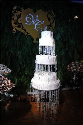painel folhagem, holograma, bolo com cascata de cristal