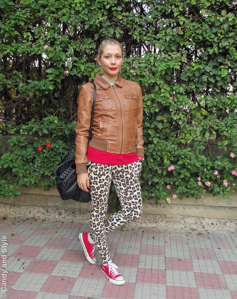 CamelBomber, RedCardigan, LeopardPrintPants, RedSneakers, ToteBag, HighPonytail - Lilli Candy and Style Fashion Blog