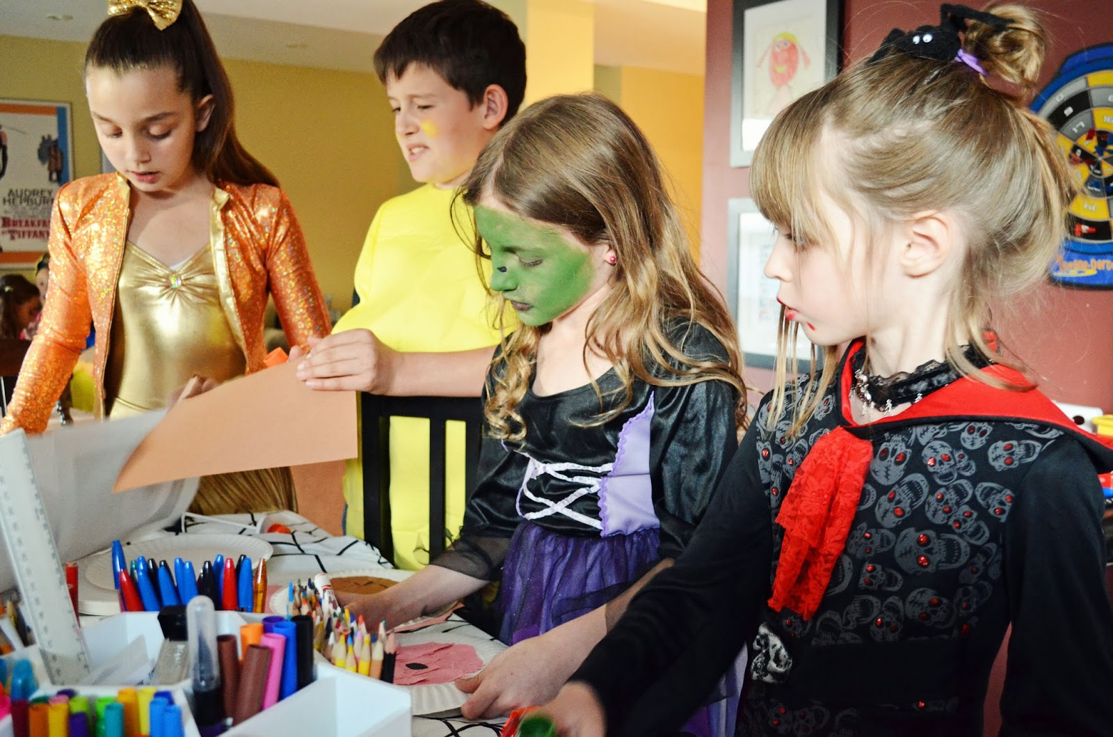 it was a lot of fun to see these cute 8 and 9 year old girls and one brave boy dressed up and ready to party we started off with some halloween crafts - Halloween Crafts For 8 Year Olds