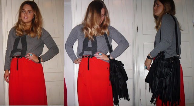 ootd river island red maxi tassel bag wiwtd