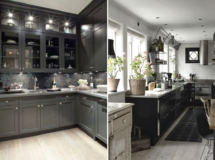 Two black kitchens