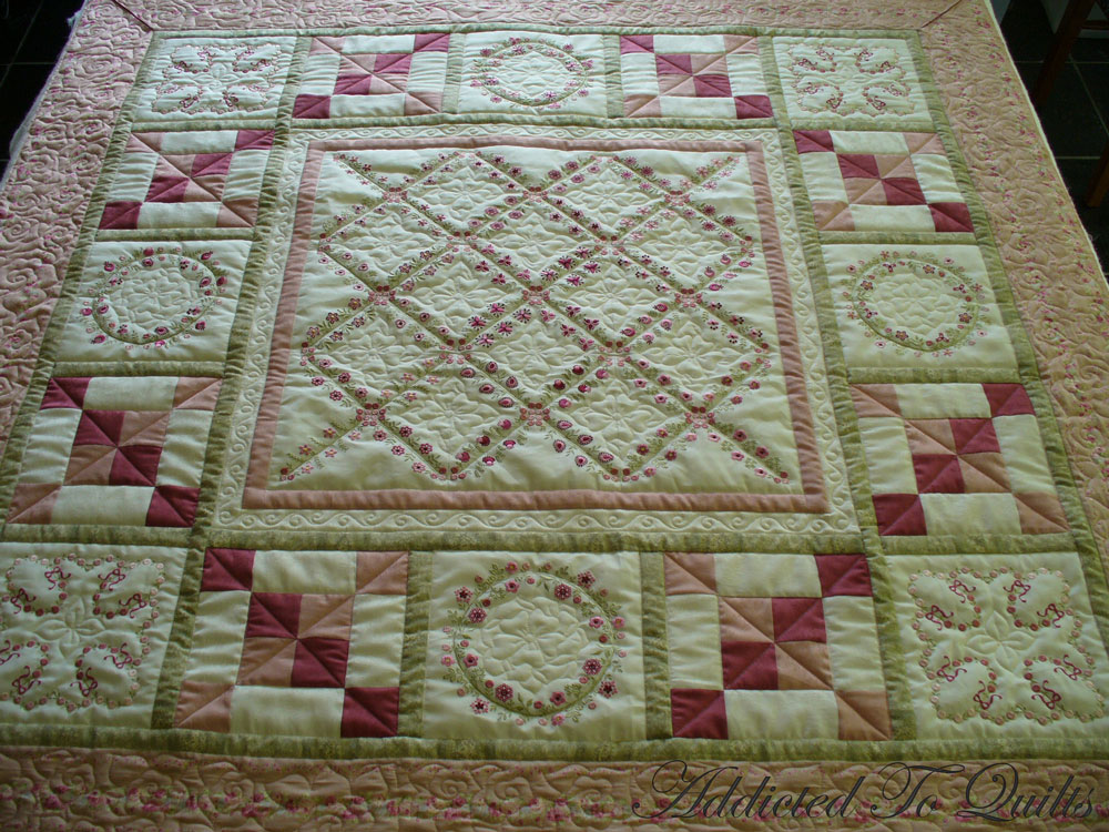 Embroidery Patterns For Quilt Squares : Addicted To Quilts: Two Pretty Embroidery Quilts.