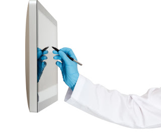 Doctor using touchscreen display