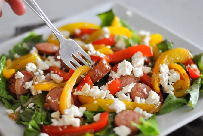 Sausage and Pepper Salad with Feta