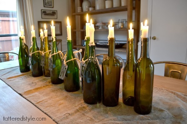 Tattered Style Wine Bottle Candle Holders Diy