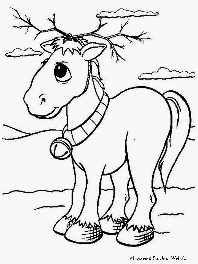Lembar Mewarnai Gambar Anak Keledai