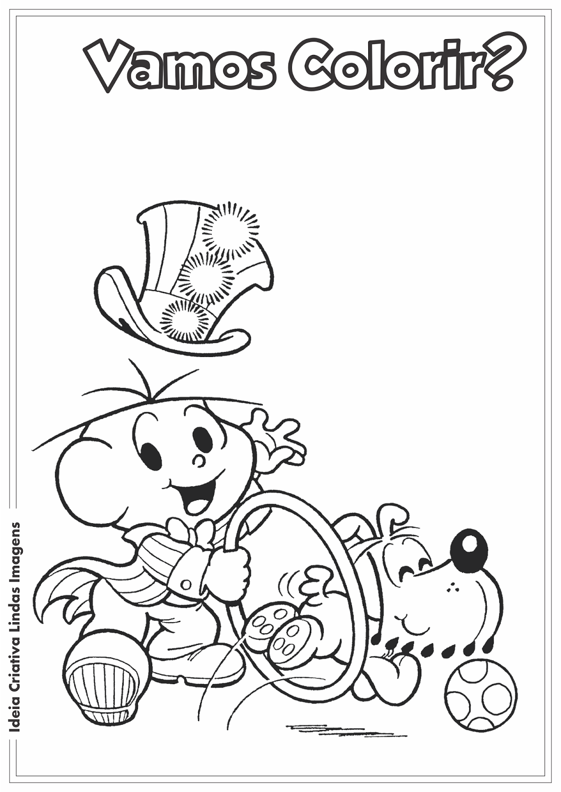 Turma da Mônica - Dia do Circo - Cebolinha e Bidu desenho para colorir