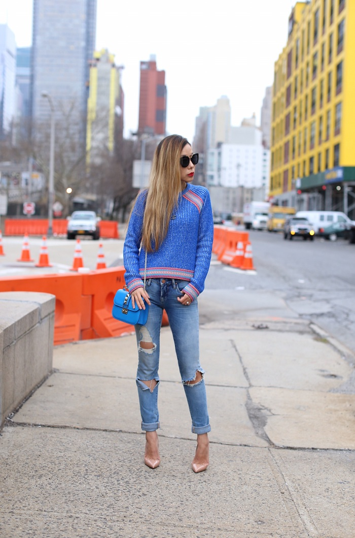 ASOS Sweater with Peruvian Inspired Trim, prada sunglasses, chanel necklace, valentino lock bag, blank denim ripped jeans, christian louboutin so kate pumps, monochromatic blue outfit, nyc street style