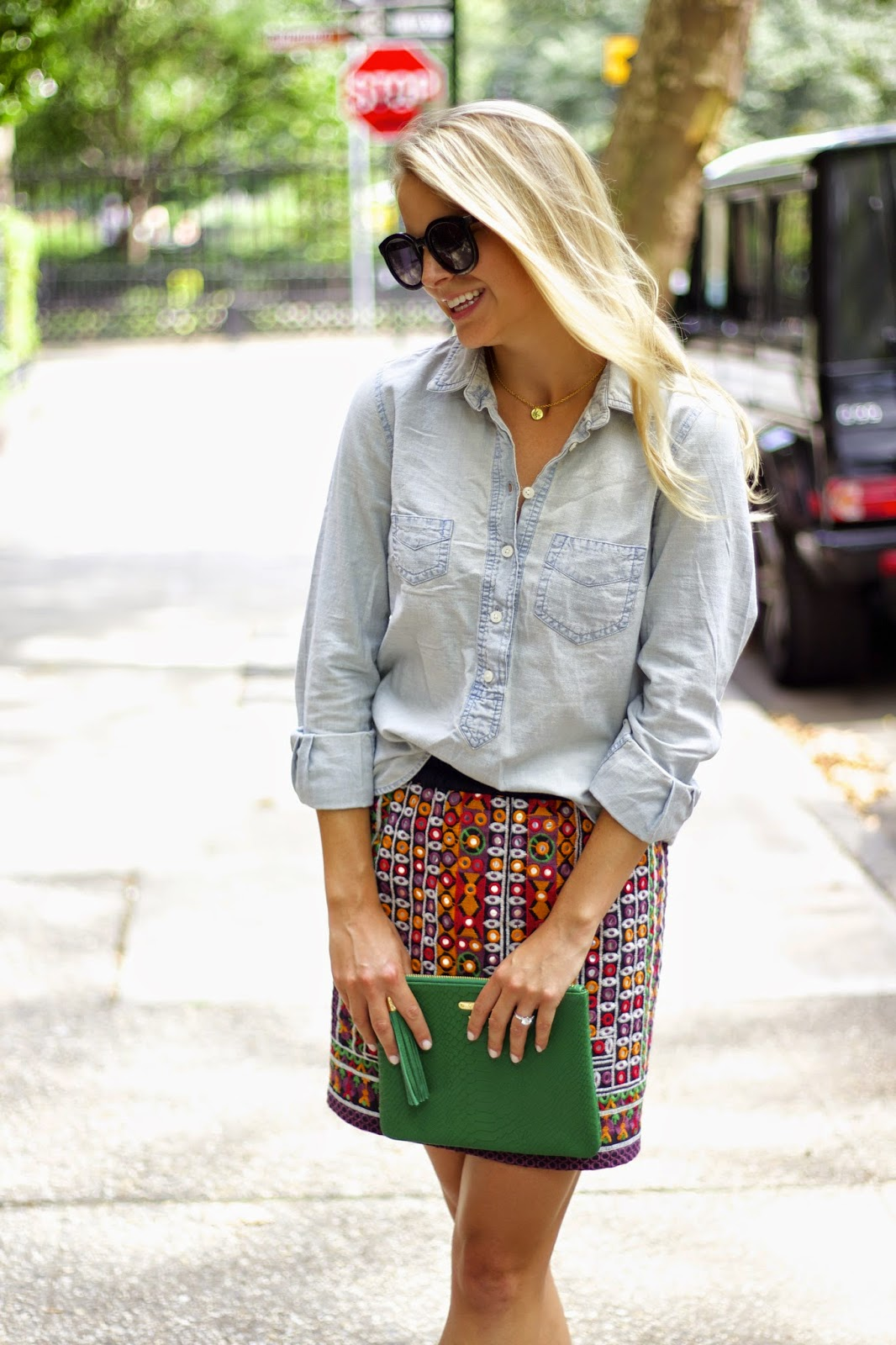 gramercy NY, vibrant colors, Espejo stitched skirt, anthropologie, chambray shirt, weekend wear