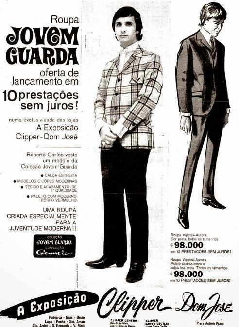 Roupa Jovem Guarda - Roberto Carlos como modelo - Propaganda de 1966.