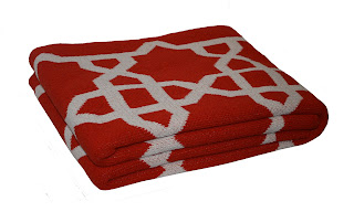 Moorish Pattern Orange Blanket