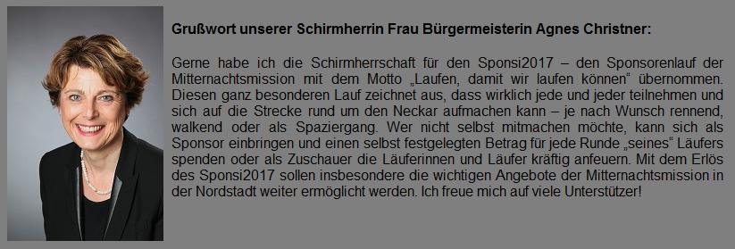 Grußwort von Frau Bürgermeisterin Agnes Christner