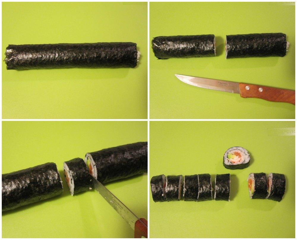 Cortando sushi maki