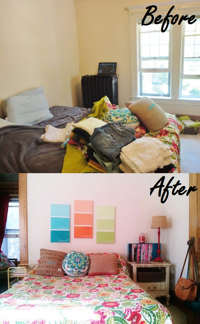 seeing some before and after photos of my bedroom without having