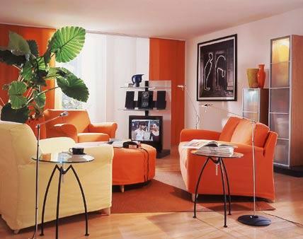 Decoraci n salas color naranja ideas para decorar for Decoracion naranja