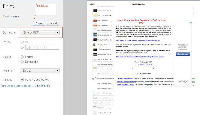 Webpage into PDF