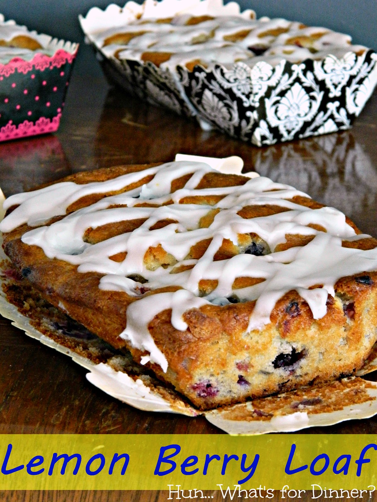 Hun... What's for Dinner? | Lemon Berry Loaf- Fresh blueberries and raspberries take center stage in this moist and tangy lemon bread.