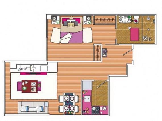 Dise o apartamento de 45 metros cuadrados decoracio for Diseno de apartamentos de 45 metros cuadrados