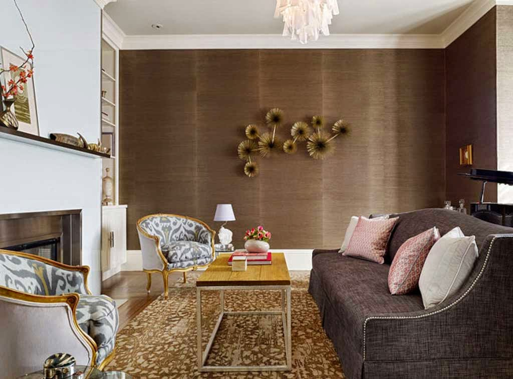 living room wall wallpaper brown flower motif