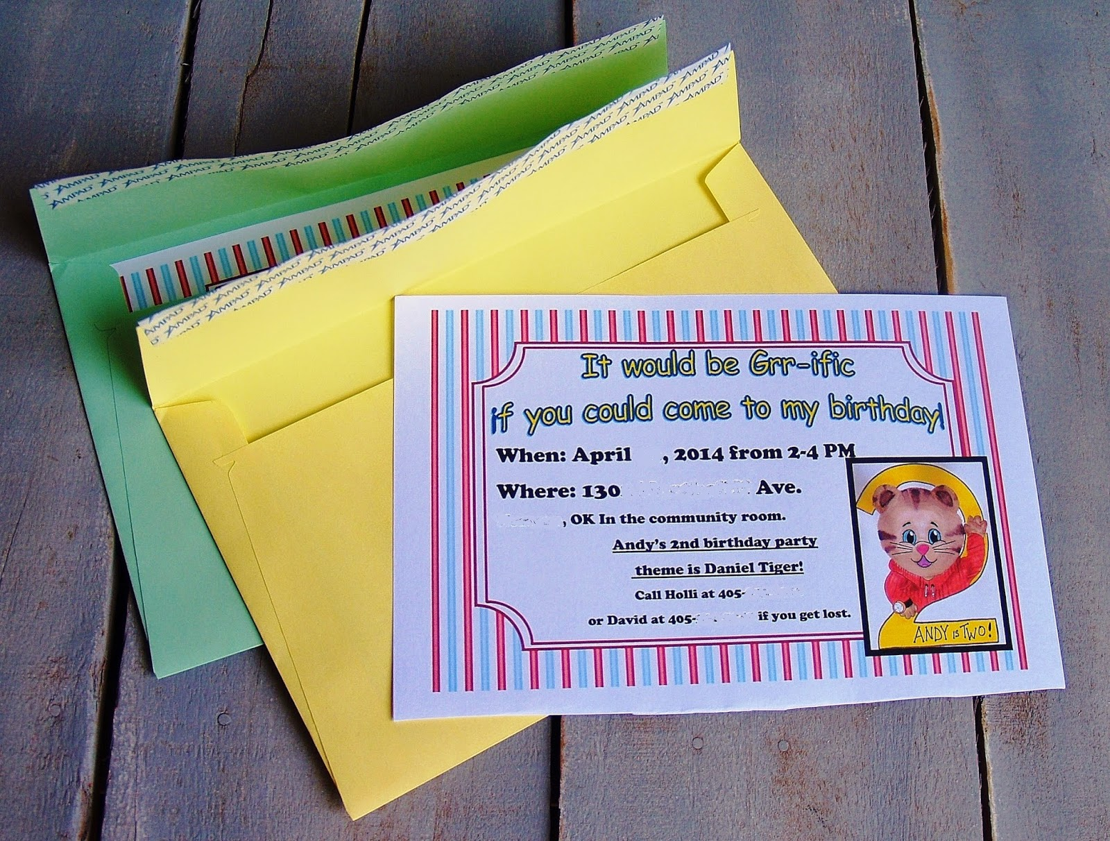Writing Reading and Eating Daniel Tiger Birthday Party Invitations