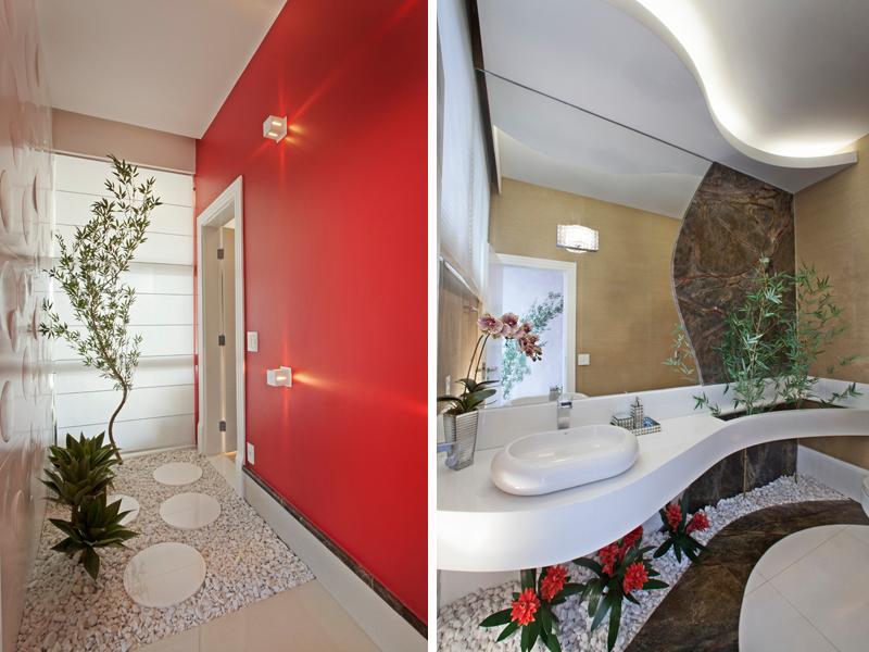 decoracao lavabos banheiros:Hall do lavabo com jardim. Nesse caso, o jardim segue para debaixo da