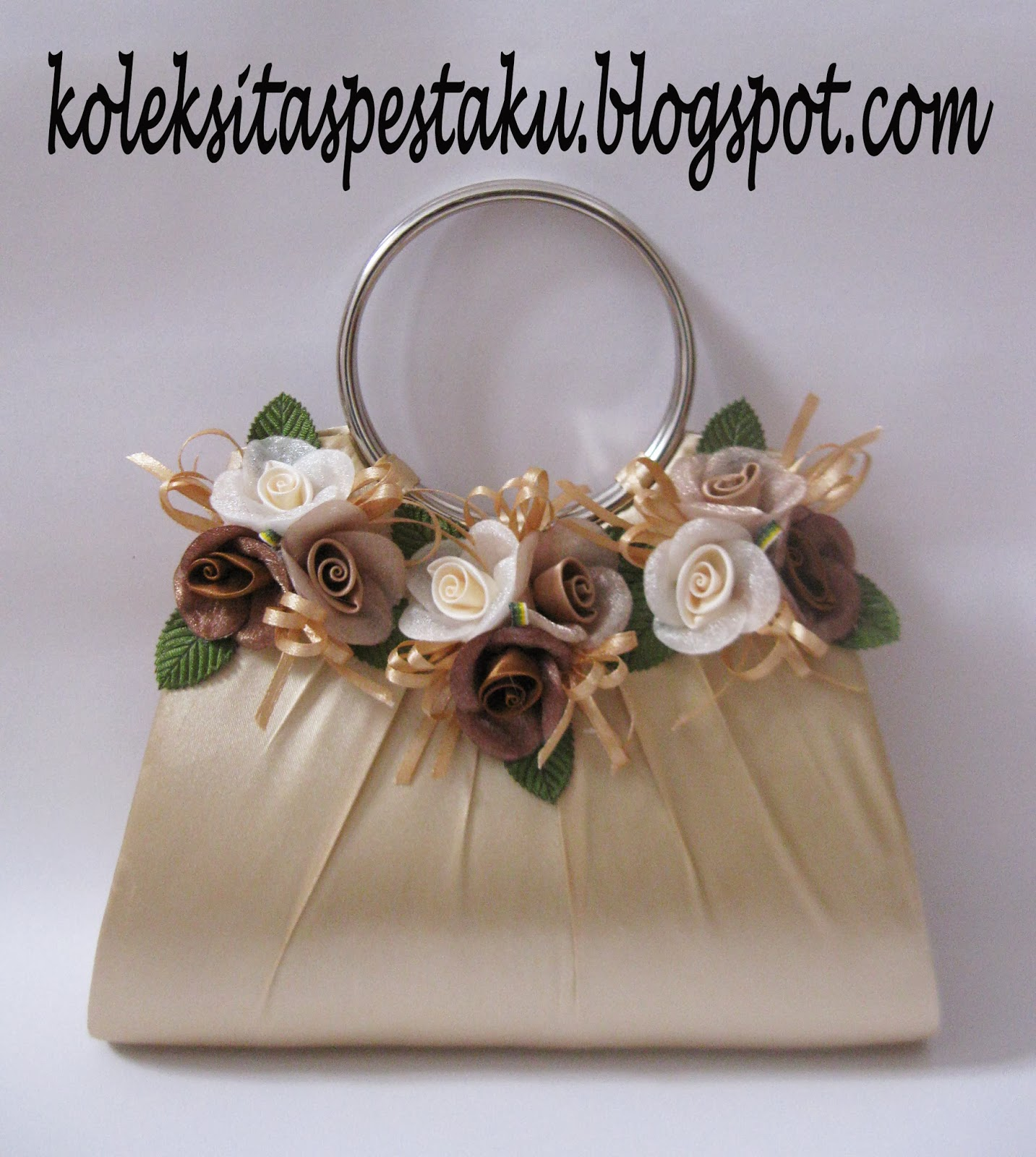 Bag Tas Pesta Unik Bunga Cream