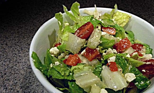 Chopped Greek Salad with HM (Home Made) Lemon Vinaigrette Dressing.