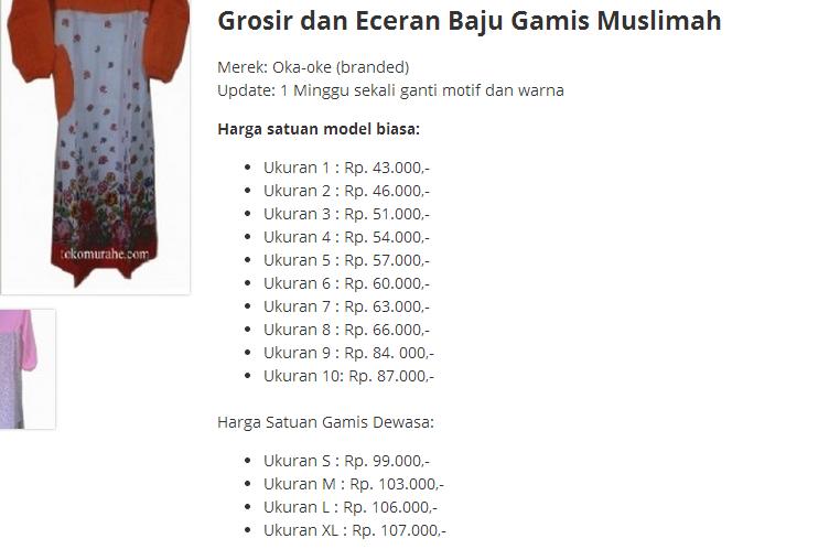 Daftar Harga Gamis Muslimah Oka-oke